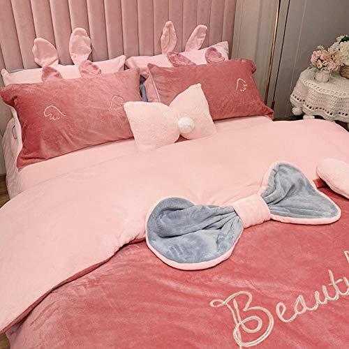 Shinon fleece duvet set blue,Winter girl heart baby coral fleece princess style bed sheet flannel thick duvet cover pillowcase-B_1.8m bed (4 pieces)