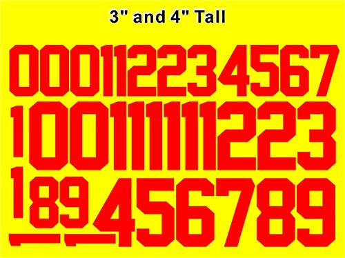 """Numbers Kit(0-9),3"""" and 4"""" Tall for Sports T-Shirt Jersey Football Baseball,Iron On, Heat Transfer, Team,t-Shirt(Style A) (Black(0-9))"""