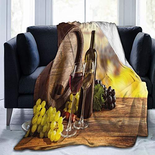Manta esponjosa, botella de vino rojo y blanco en barril de madera de calidad sabor tradicional, ultra suave, manta para dormitorio, cama, TV, manta para cama de 50 x 40 pulgadas