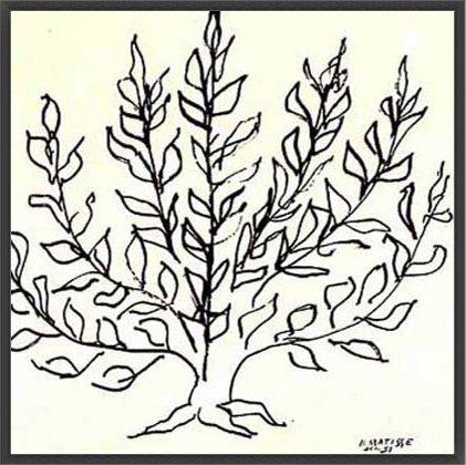 ポスター アンリ マティス 低木 1951年 リプロダクション 額装品 ウッドベーシックフレーム(ブラック)