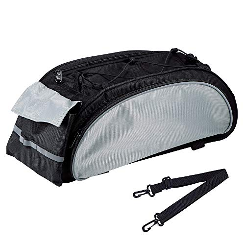 JIAOAOO 1 x Fahrradträgertasche, wasserdicht, 600D Dacron, Fahrradtasche, Gepäckträgertasche, MTB, Rennrad, Gepäckträgertasche, schwarz und grau