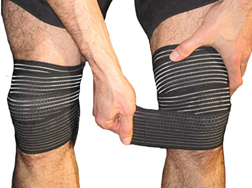 Elastic Knee Compression Bandage Wraps – Straps Support for Legs, Thighs, Hamstrings Ankle & Elbow Joints Reduce Swelling, Lymphatic Relief Help Recover from Knee Replacement Surgery (Small)