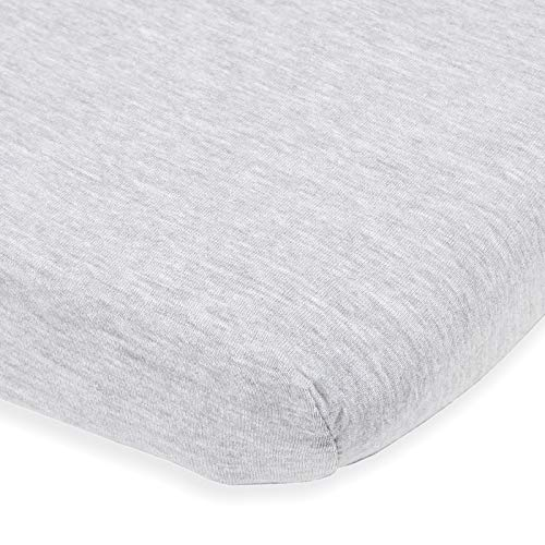 Bedside Sleeper Bassinet Sheet – Compatible with Milliard Side Sleeper –Fits 21 x 36 Mattress Without Bunching – Snuggly Soft Jersey Cotton – Light Grey