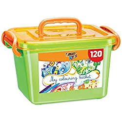Creative kids can vary their styles with this BIC Kids colouring box combining 60 colouring pencils and 60 felt pens in one practical box Contains 60 vibrantly colourful BIC Kids Kid Couleur ultra-washable felt pens with a robust tip that stands up t...