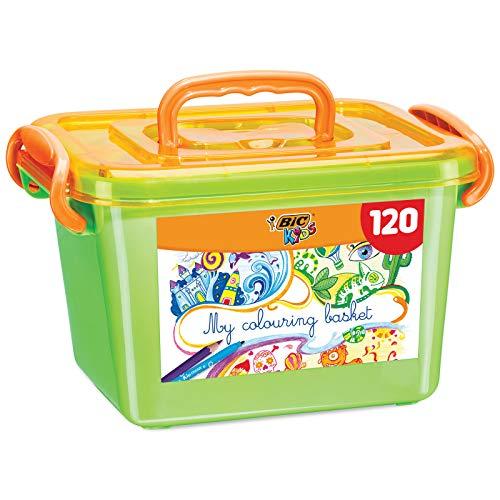 BIC Kids Ecriture Boîte de Coloriage - Fabriqués Sans Bois - 60 Crayons de Couleurs/60 Feutres de Coloriage