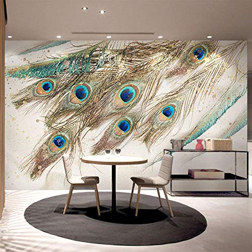 Fotomurales Pluma De Pavo Real Azul 3D Papel Pintado Tejido No Tejido Foto Papel Tapiz Cartel Pared Foto Moderna Decoración De Pared Sala Cuarto Oficina Salón 300X210Cm