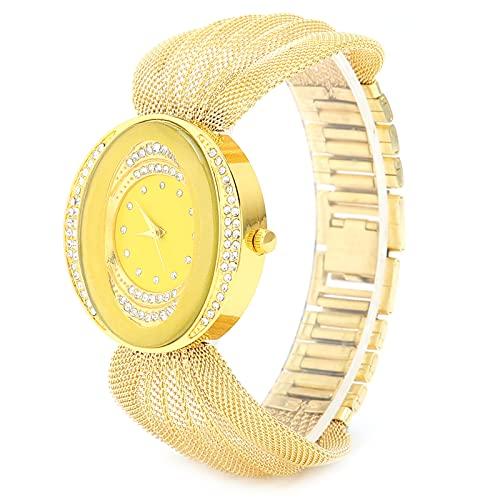 BOLORAMO Reloj de Mujer de Cuarzo, Reloj de Correa de Malla Ligera de Moda para Fiesta para Mujer(Dorado)