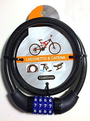 Kabel Diebstahl beschichtet für Fahrrad, Motorrad, Scooter–Diebstahlsicherung A Kette mit Kombination–DM 12mm x 80cm–Zahlenschloss–Schwarz