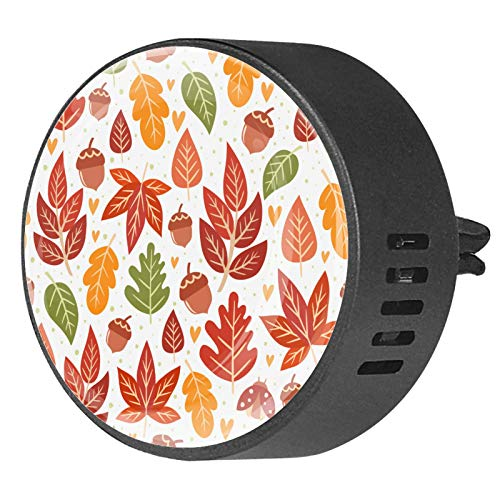 2 Pack Office Home Car Air Freshener Aromatherapy Essential Oil Diffuser Locket Clip Forest Pattern With Acorns And Autumn Leaves