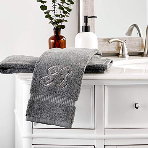 Monogrammed Hand Towel, Embroidered Letter R (Grey, 16 x 30 in, Set of 2)