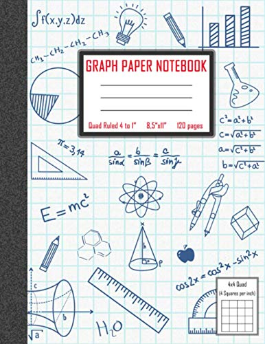 Graph Paper Composition Notebook: Squared Grid Paper Notebook for Math and Science Subjects, Graphing Composition Notebook for School, Quad Ruled 4 squares per inch, 8.5 x 11 in, 120 pages