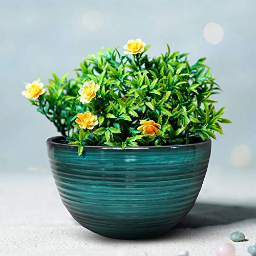 """The Your Choice Patio and Indoor Garden 11.6"""" Faux Ceramic Plastic Resin Planter Pot for Growing Plants, Flowers and Herbs. 11.6"""" Planter Pot, Blue Brush"""