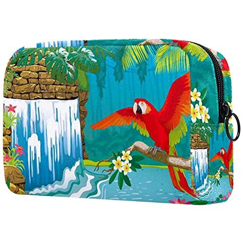 Bolsa de cosméticos Maquillaje Grande Bolsa con Cremallera Aseo portátil de cosméticos de Viaje Cascada Flores Ramas Red Parrot para Mujeres y niñas