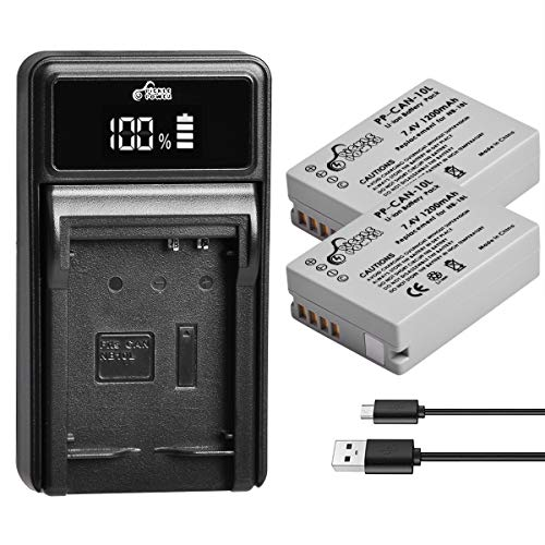 Pickle Power 2 Pack NB-10L Rechargeable Lithium-Ion Battery and LED Charger Kit Compatible with Canon PowerShot G15, G16, G1X, G3X, SX40HS, SX50 HS, SX60 HS Digital Camera