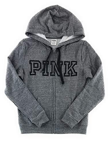 Victoria's Secret Pink Perfect Zip Hoodie Medium Dark Gray Black Block Logo