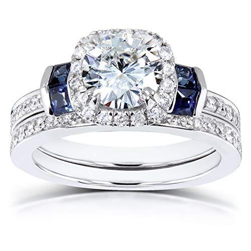 Kobelli Near-Colorless (F-G) Moissanite & Blue Sapphire Wedding Rings Set 1 3/4 Carats TW in 14k White Gold (2 Piece Set)