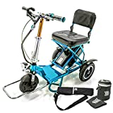 TRIAXE Sport Foldable Electric Mobility Scooter + Cane & Cup Holder - Blue