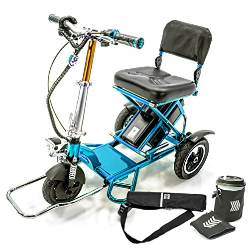Affordable TRIAXE Sport Foldable Electric Mobility Scooter + Cane & Cup Holder - Blue