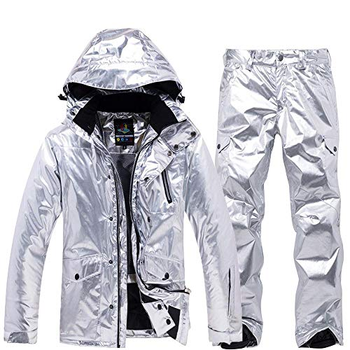 Herren und Damen Skianzug Winter Verdickung Outdoor Warm Winddicht Wasserdicht Silber Skijacke + Skihose Silver-M