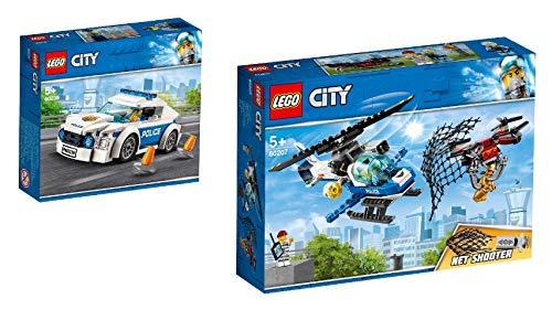 Lego City 60239 - Juego de 2 carritos y 60207 policía para caza de dron