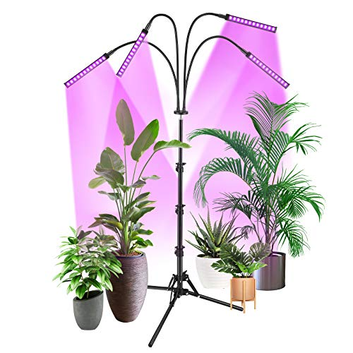 Grow Light with Stand, Slaouwo Floor Grow Lights for Indoor Plants, Smart Red & Blue Spectrum LED Grow Lamp with Timer for Seedling, Auto ON/Off, Adjustable Stand & Gooseneck