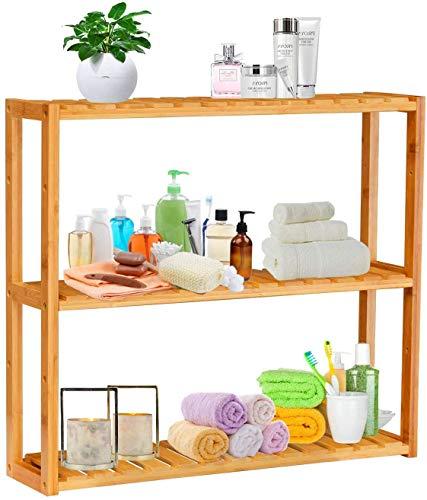 Estantería de bambú para baño, con 3 niveles de altura ajustable, montaje en pared o de pie, zapatero, estantería para plantas, para salón, baño, cocina, balcón, 60 x 15 x 53,5 cm