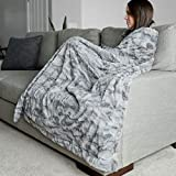 Large Super Soft Warm Elegant Cozy Faux Fur Home Throw Blanket 50' x 60' by Graced Soft Luxuries, Marbled Gray