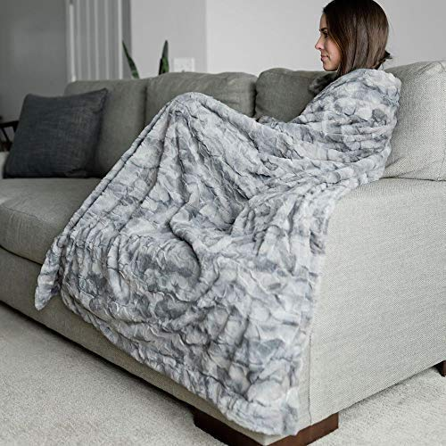 "Large Super Soft Warm Elegant Cozy Faux Fur Home Throw Blanket 50"" x 60"" by Graced Soft Luxuries, Marbled Gray"
