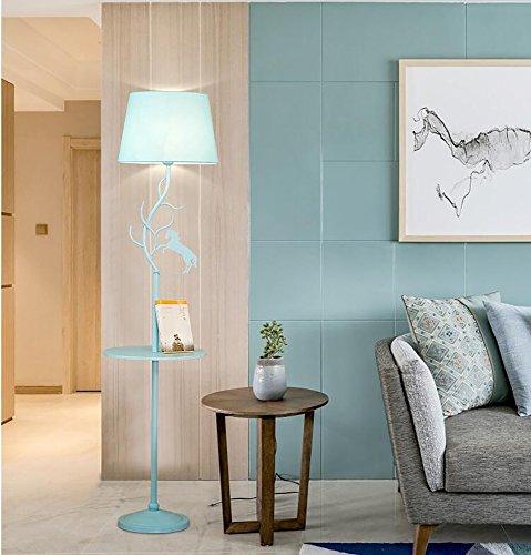 フロアランプ 北欧 クリエイティブ ベッドルーム ベッドサイドランプ リビングルーム ティーテーブル コーヒーテーブル付き (色:ブルー)