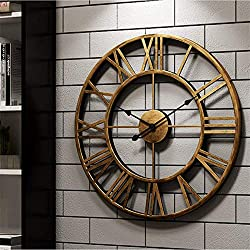 Vintage Wall Clocks 24In Wall Clocks Desk Clock Wall Clock Retro Style Metal Roman Numerals Silent Large Kitchen Clocks for Home Office Living Room