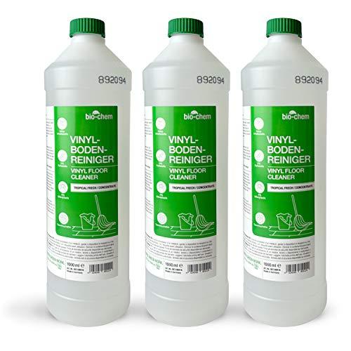 bio-chem Vinyl-, PVC- und PU-Bodenreiniger - Konzentriertes Reinigungsmittel für materialschonende Reinigung von PVC-Designbelag, Vinyl-, Linoleum- und Laminatböden aller Arten - Sparpack 3x 1000 ml