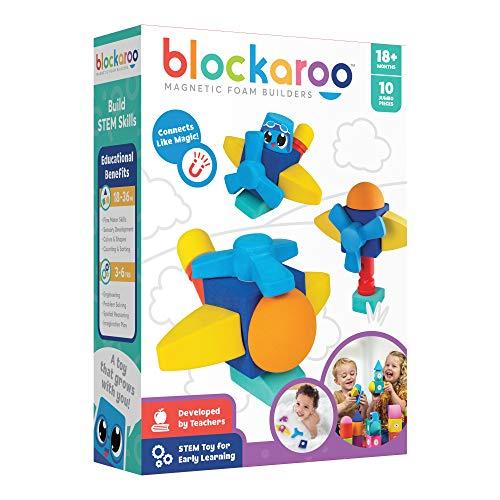 Blockaroo Magnetic Foam Building Blocks - Soft and Colorful Foam Blocks Provide Early STEM Learning & Sensory Stimulation, Great Bath Toys, Educational Preschool Toddler Toys - Helicopter Set