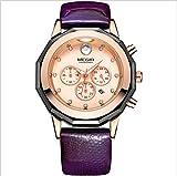 Megir Reloj de Cuarzo Resistente al Agua con Reloj de Pulsera Watch con Banda Genuina Leahter para Mujeres,Purple