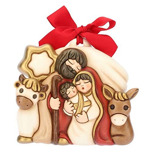THUN® - Formella Media Sacra Famiglia - Natività da Appendere con Fiocco Rosso - Ceramica - I Classici