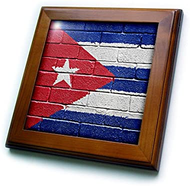 3dRose ft_155213_1 National Flag of Cuba Painted onto a Brick Wall Cuban Framed Tile, 8 by 8-Inch