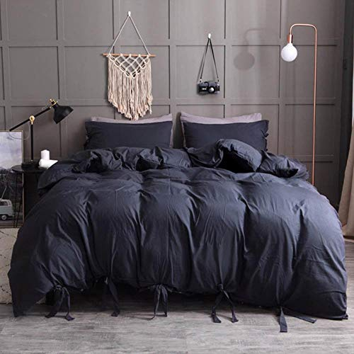 SXCYU Beddengoedset zacht gewassen katoenen dekbedovertrek (met kussensloop), tweepersoons, groot kingsize beddengoed, zwart, 228 x 260 cm (3 stuks)