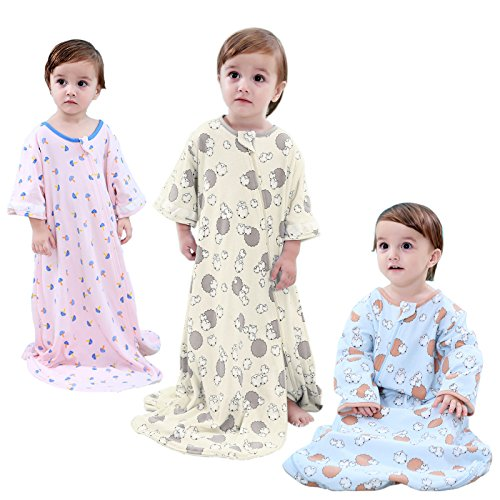 GEX Baby Sleep Sack 100% Cotton Wearable Blanket Baby Sleeping Bag Spring/Autumn Pink Animal Party 100 (3mos-6.5year)