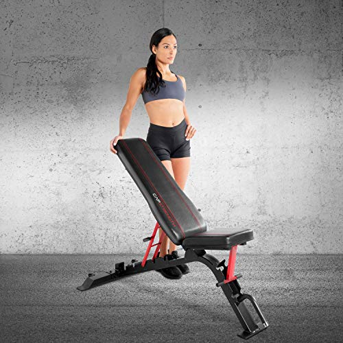 CAP Barbell Strength FID Workout Bench   Flat Incline Decline Positions, Black/Red