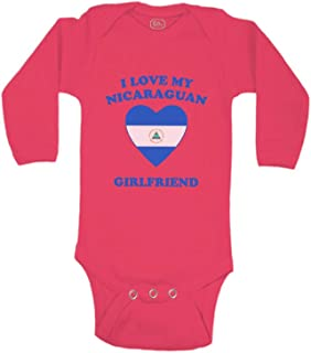 Baby Long Sleeve Bodysuit I Love My Nicaraguan Girlfriend Countries Cotton