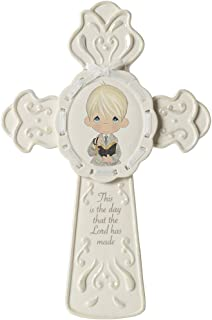 Precious Moments,  This Is The Day The Lord Has Made Boy Cross With Stand, 153403