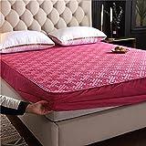 FJMLAY Sábana Bajera clásica,Sábanas Gruesas Acolchadas para Cama, protección Antideslizante para el apartamento del Dormitorio-Pink_4_120cmx200cm