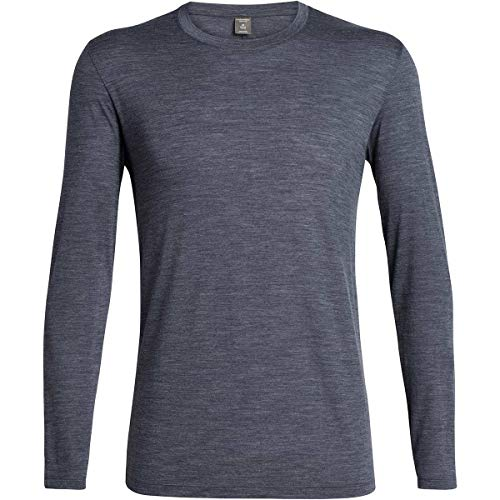 Icebreaker Solace T-Shirt Manches Longues à Col Ras-du-Cou Homme, Midnight Navy Modèle XL 2019 t Shirt Manches Longues