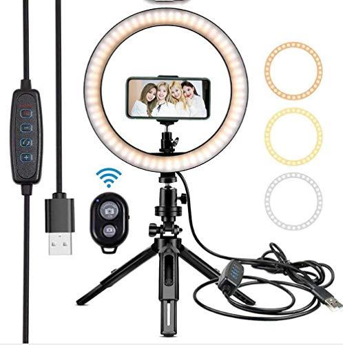 Hokaime 26 Pulgadas de Escritorio pequeño luz de Relleno, retráctil plástico del Soporte de Belleza con luz, Bluetooth Control Remoto, Apto para Anchor Selfie Fotografía Luz Vivo,26cm+Single Folder