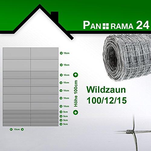Preisvergleich Produktbild Wildzaun Forstzaun Weidezaun Rollenware Verzinkt 100 / 12 / 15 50m