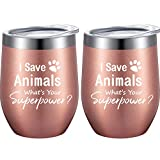 2 Pack I Save Animals, What's Superpower, Customized Gifts for Vet Tech, Animal Lover, Pet Lover, Veterinarian, Dog Mom, Cat Mom, Animal Rescue, Graduation, Funny 12 oz Wine Tumbler with Gift Box