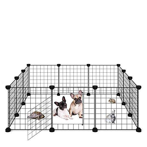 ALLISANDRO Recinto per Cucciolo Coniglio Porcellino d'India con Porta [35x35cm X12 Pannelli] Box per Coniglietto Gabbia per Piccoli Animali Recinzione Interna Portatile Cortile