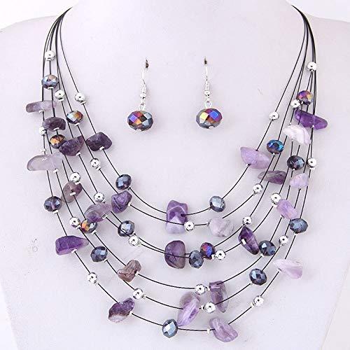 xuyang Juego de joyas de boda para mujer, con dije de coral de cristal morado, juego de joyas de cuentas africanas (color metálico: negro)