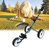 EnweOil Golf Push Carro, Carro de Golf de 3 Ruedas para 6-12 Años de Edad, Carro de Golf Plegable de 3 Ruedas de Aluminio Ligero y General