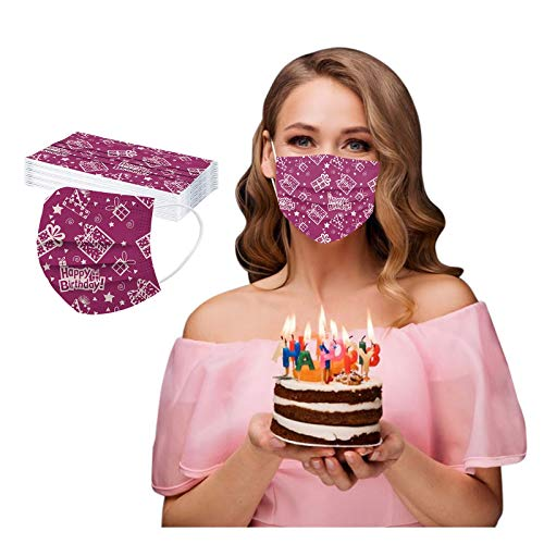 CawBing DisposableFaceMasks Birthday Gifts for Her Him 20PCS Happy Birthday Printed Decorations Balaclava 3 ply Comfort Breathable FaceCoverings with Elastic Earloop Protection Bandana