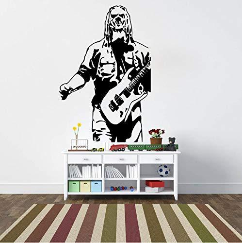 Hfwh Muurstickers, gitaar, lamp voor kinderkamer, slaapkamer, muziek, superstar, muurstickers, decoratie 70 cm hoog x 47 cm breed